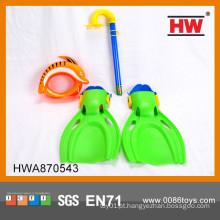 Hot Selling Plastic Scuba Diving Set Para Goggle Crianças, Tubo, Sapatos