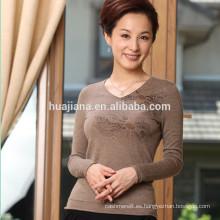 Suéter de cachemir 100% peinado de mujer de otoño 2015