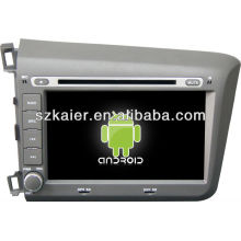 Reprodutor de DVD do carro do sistema de Android para Honda Civic 2012 com GPS, Bluetooth, 3G, iPod, jogos, zona dupla, controle de volante