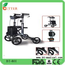 hot aluminum rollator walker with LED light ,shopping bag
