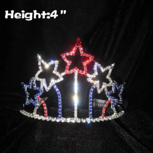 Rojo Blanco Azul en forma de estrella 4 de julio coronas del concurso