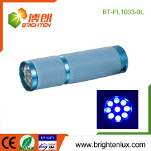 Factory Wholesale 3*AAA battery Powered Promotional 360nm-365nm Cheap Colorful 9 led Purple light UV Flashlight