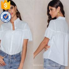 Camisa con cuello en V cortocircuito blanco con volantes, mangas cortas, camisa de verano, blusa, manufactura, venta al por mayor, moda, mujer, ropa (TA0041B)