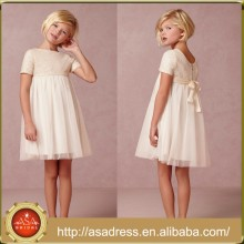 BHL07 Pretty Girl Party Gowns Princess Short Sleeve High Collar Empire Sequined Knee Length Flower Girl Tulle Dress