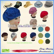 Venta caliente nueva moda Womens Lana Blend Beret Beanie invierno sombrero Ski Cap regalos