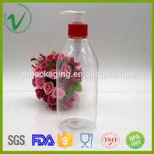 Cilindro claro 500ml jabón líquido botella de plástico con bomba de hogar