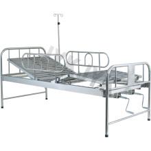 Нержавеющая сталь Две функции ручной кровать больничная кровать