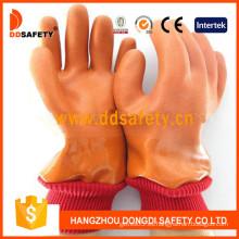 Guante acabado liso / arenoso de PVC naranja con acrílico Boa Liner-Dpv113