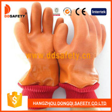 Orange PVC Smooth/Sandy Finished Glove with Acrylic Boa Liner-Dpv113