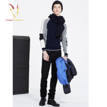 High neck pullover merino wool color block knit pullover for men