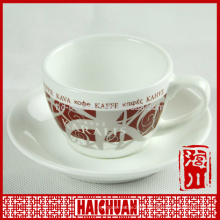 Hot sale white porcelain coffee cup and saucer set in hollow out with emboss pattern, wholesale ceramic tea cup set