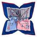 Glands de corde de mode motif imprimé écharpe imitation tissu de soie écharpe 130x130cm carré sacrf
