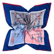 Moda corda borlas padrão impresso lenço imitação de tecido de seda cachecol 130x130 cm quadrado sacrf