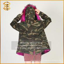 Fábrica Atacado Custom Brand Winter Mulheres Raccoon Fur Parka