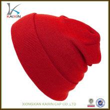gorra tejida en blanco de la gorra de nieve del casquillo del sombrero de la venta caliente de encargo al por mayor popular al por mayor