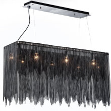 luxury modern rectangle black crystal chandeliers pendant lights aluminum chain chandelier for hotel lobby