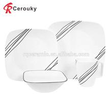 Mikrowelle & spülmaschinengeeignet weißes quadratisches keramisches Essensset