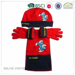 Custom The Samrfs Patent Fleece Hat Scarf And Gloves Set
