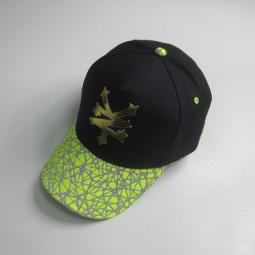 Fashion Reflective Print Baseball Cap With Metal logo