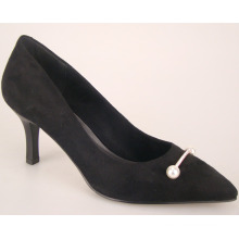 black pu leather midlle heel young lady fashion shoes