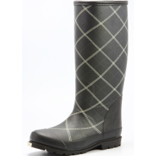 Black Grid Women Sponge Lining Rubber Boots