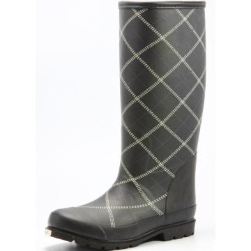 Black Grid Women Sponge Lining Rubber Boots