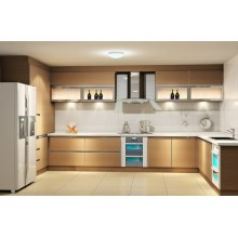 Modern Wood L Shape Kitchen Cabinet with High Glossy MDF (Customized)