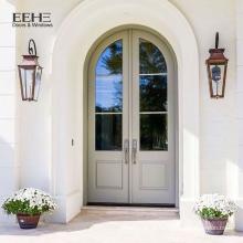 Porta de arco de madeira maciça de luxo cinza