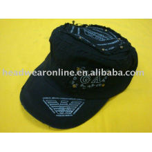 washed cotton military cap with printing