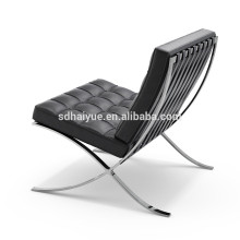 Stainless steel black cow leather barcelona chair leisure chair with ottoman
