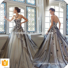 Sexy Long Romantic Sleeveless Embroidered Lace Sweet Heart Evening Gown Elegant Princess Evening Dress