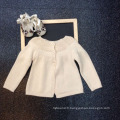 Robes de chandail Biege Creamy Kids, pull fille noire, col rond manches longues cardigans valentine's day pull