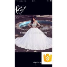 Long Sleeve Wedding Dresses with Rhinestones Crystals Ball Gown Elegant Arabic Dubai Bridal Gowns