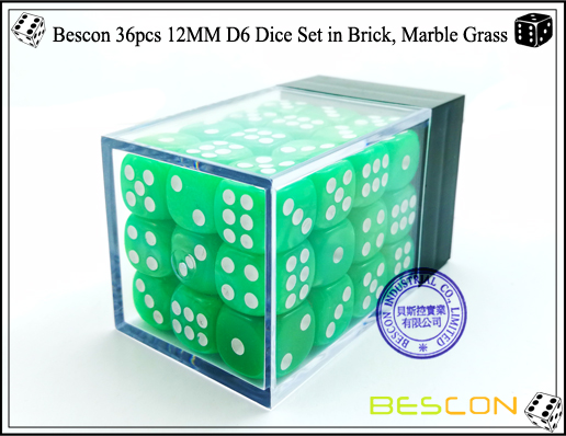 Bescon 36pcs 12MM D6 Dice Set in Brick, Marble Grass-2