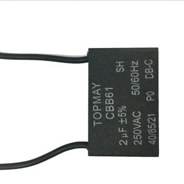 Condensador del ventilador del acondicionador de aire negro Cbb61 250VAC 2UF