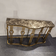 New design stainless steel console living room furniture marble top or glass top console