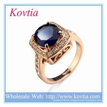 Últimas banhado a ouro 18k grande diamante anel de jóias finas com zircão