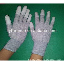 carbon fiber gloves coated with pu top fingers,anti static glove