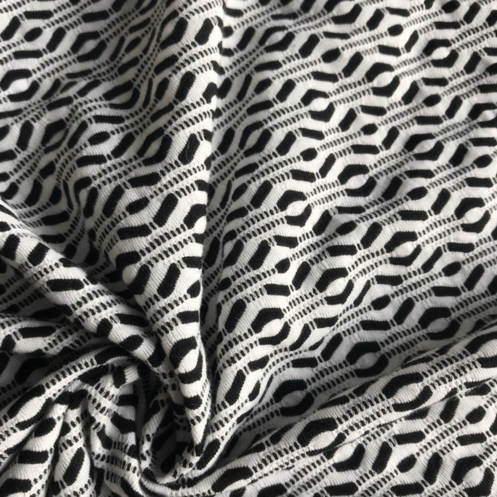 Polyester Jacquard black white knitting fabric