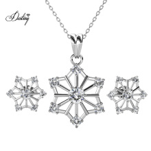 18K Gold Plated Snowflake Crystal Jewellery Set Simple Earring and Pendant Set