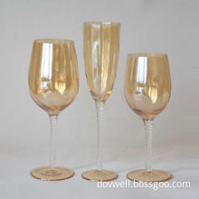 7.5oz hand-blown luster champagne flutes