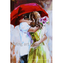 Modern Oil Painting for Lover Under Umbrella