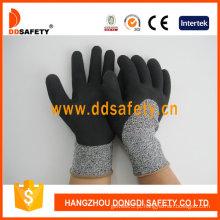 Luvas de segurança de revestimento de látex de espuma de luva de resistência de corte -dcr430