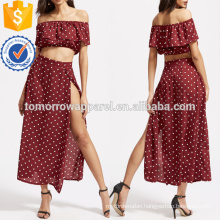Textured Dot Ruffle Crop Top With Split Skirt Manufacture Wholesale Fashion Women Apparel (TA4009SS)
