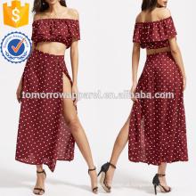 Texturizado Dot Ruffle Top Curto Com Split Saia Fabricação Atacado Moda Feminina Vestuário (TA4009SS)
