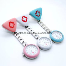 Clip Nurse Doctor Pendant Pocket Quartz Red Cross Brooch Nurses Watch