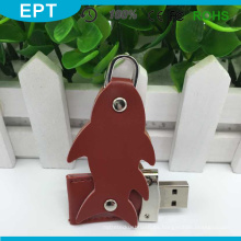 Llavero USB de cuero con forma de pez marrón (TL012)