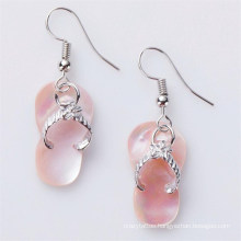 Unique Flip-Flop Sandals Pink Shell Earrings Fish Hook Earrings for Fashionable Gift and Souvenir