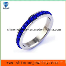 Shineme joyas azul piedras de acero inoxidable dedo anillo (czr2577)