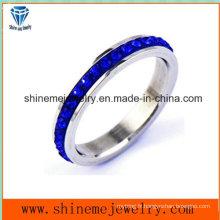 Shineme Jewelry Blue Stones Anneau en acier inoxydable (CZR2577)